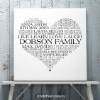 Personalised Heart Family Word Art Print